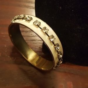 White and gold bangle bracelet with studs